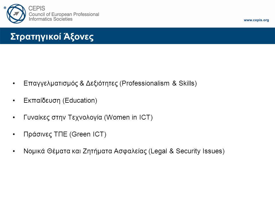 Στρατηγικοί Άξονες Επαγγελματισμός & Δεξιότητες (Professionalism & Skills) Εκπαίδευση (Education) Γυναίκες στην Τεχνολογία (Women in ICT) Πράσινες ΤΠΕ (Green ICT) Νομικά Θέματα και Ζητήματα Ασφαλείας (Legal & Security Issues)
