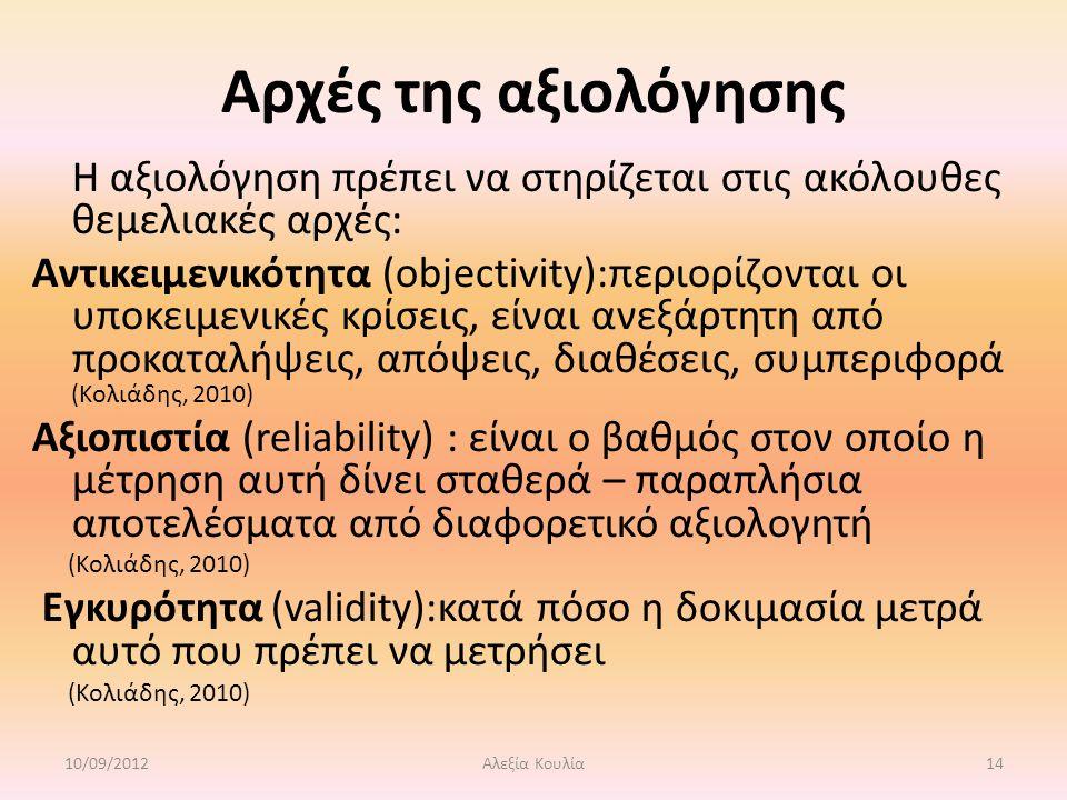 Αρχές της αξιολόγησης Η αξιολόγηση πρέπει να στηρίζεται στις ακόλουθες θεμελιακές αρχές: Αντικειμενικότητα (objectivity):περιορίζονται οι υποκειμενικές κρίσεις, είναι ανεξάρτητη από προκαταλήψεις, απόψεις, διαθέσεις, συμπεριφορά (Κολιάδης, 2010) Αξιοπιστία (reliability) : είναι ο βαθμός στον οποίο η μέτρηση αυτή δίνει σταθερά – παραπλήσια αποτελέσματα από διαφορετικό αξιολογητή (Κολιάδης, 2010) Εγκυρότητα (validity):κατά πόσο η δοκιμασία μετρά αυτό που πρέπει να μετρήσει (Κολιάδης, 2010) 10/09/201214Αλεξία Κουλία