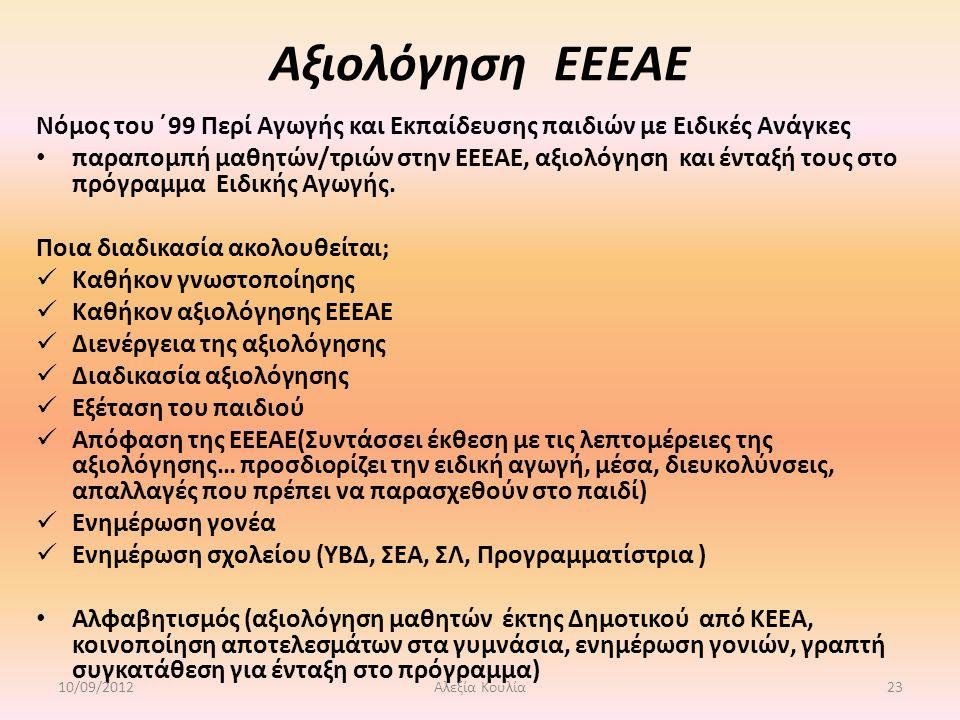 Αξιολόγηση ΕΕΕΑΕ Νόμος του ΄99 Περί Αγωγής και Εκπαίδευσης παιδιών με Ειδικές Ανάγκες παραπομπή μαθητών/τριών στην ΕΕΕΑΕ, αξιολόγηση και ένταξή τους στο πρόγραμμα Ειδικής Αγωγής.