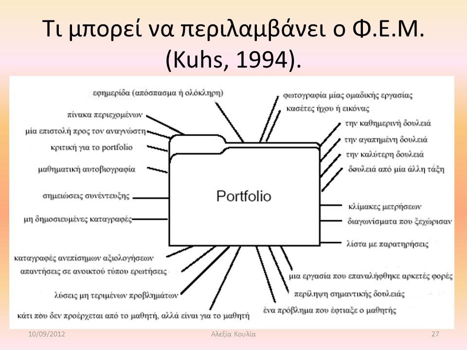Τι μπορεί να περιλαμβάνει ο Φ.Ε.Μ. (Kuhs, 1994). 10/09/2012Αλεξία Κουλία27