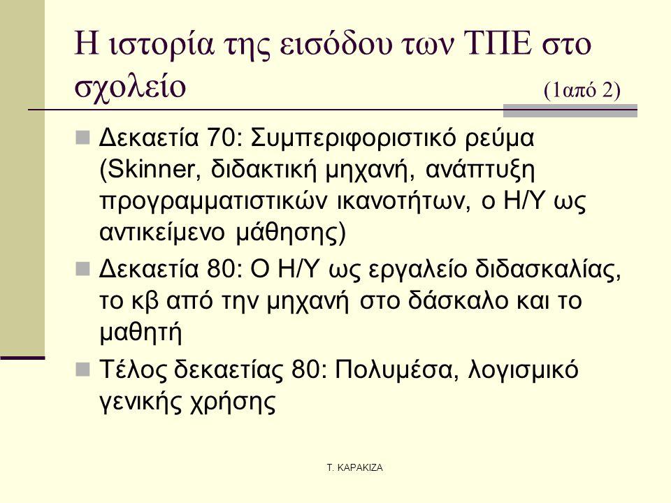 Τ. ΚΑΡΑΚΙΖΑ Η ιστορία της εισόδου των ΤΠΕ στο σχολείο (1από 2) Δεκαετία 70: Συμπεριφοριστικό ρεύμα (Skinner, διδακτική μηχανή, ανάπτυξη προγραμματιστι