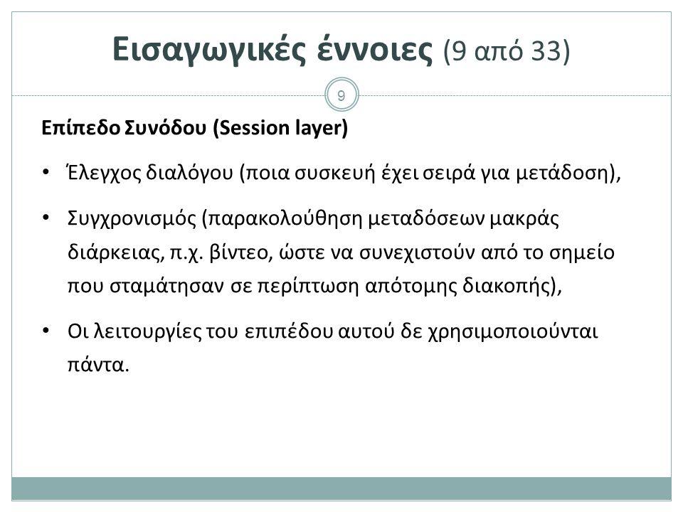9 Εισαγωγικές έννοιες (9 από 33) Επίπεδο Συνόδου (Session layer) Έλεγχος διαλόγου (ποια συσκευή έχει σειρά για μετάδοση), Συγχρονισμός (παρακολούθηση
