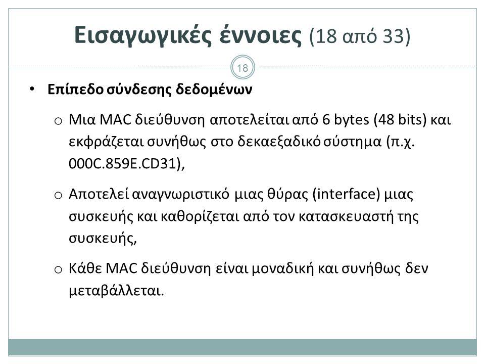 18 Επίπεδο σύνδεσης δεδομένων o Μια MAC διεύθυνση αποτελείται από 6 bytes (48 bits) και εκφράζεται συνήθως στο δεκαεξαδικό σύστημα (π.χ. 000C.859E.CD3