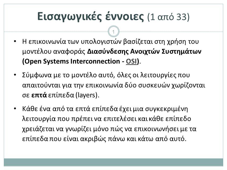 1 Εισαγωγικές έννοιες (1 από 33) Η επικοινωνία των υπολογιστών βασίζεται στη χρήση του μοντέλου αναφοράς Διασύνδεσης Ανοιχτών Συστημάτων (Open Systems Interconnection - OSI).OSI Σύμφωνα με το μοντέλο αυτό, όλες οι λειτουργίες που απαιτούνται για την επικοινωνία δύο συσκευών χωρίζονται σε επτά επίπεδα (layers).