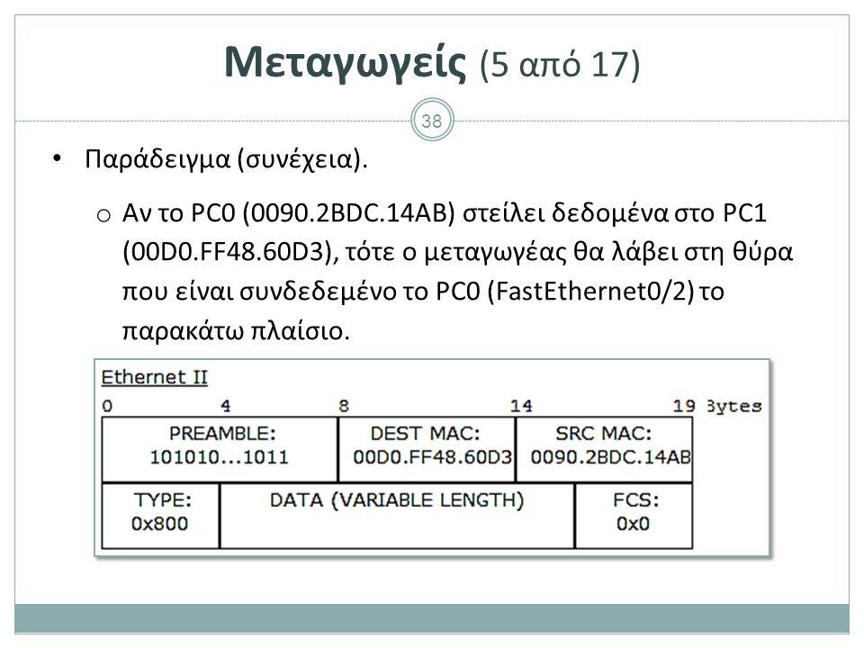 38 Μεταγωγείς (5 από 17) Παράδειγμα (συνέχεια). o Αν το PC0 (0090.2ΒDC.14AB) στείλει δεδομένα στο PC1 (00D0.FF48.60D3), τότε ο μεταγωγέας θα λάβει στη