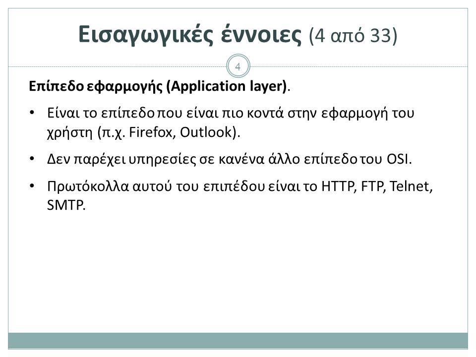 4 Εισαγωγικές έννοιες (4 από 33) Επίπεδο εφαρμογής (Application layer). Είναι το επίπεδο που είναι πιο κοντά στην εφαρμογή του χρήστη (π.χ. Firefox, O