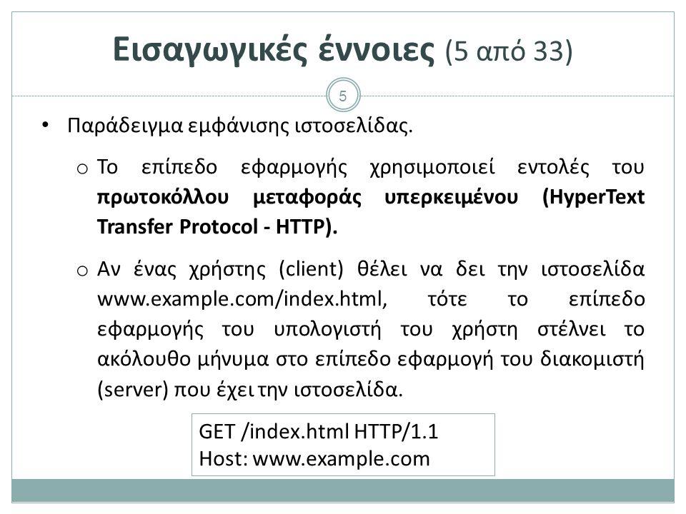 5 Παράδειγμα εμφάνισης ιστοσελίδας. o Το επίπεδο εφαρμογής χρησιμοποιεί εντολές του πρωτοκόλλου μεταφοράς υπερκειμένου (HyperText Transfer Protocol -