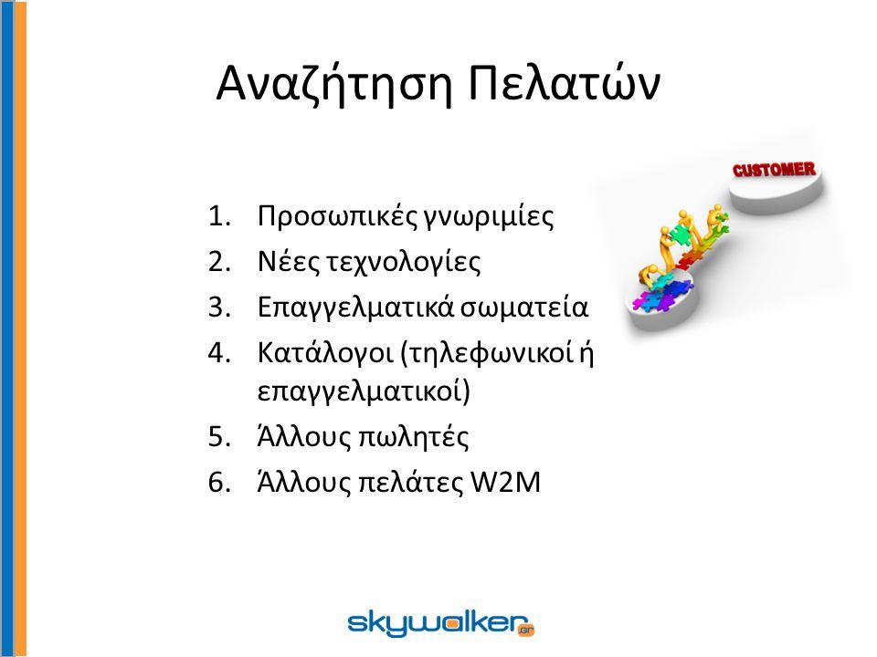 Αναζήτηση Πελατών 1.Προσωπικές γνωριμίες 2.Νέες τεχνολογίες 3.Επαγγελματικά σωματεία 4.Κατάλογοι (τηλεφωνικοί ή επαγγελματικοί) 5.Άλλους πωλητές 6.Άλλους πελάτες W2Μ