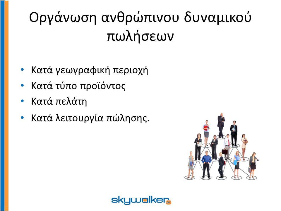 Οργάνωση ανθρώπινου δυναμικού πωλήσεων Κατά γεωγραφική περιοχή Κατά τύπο προϊόντος Κατά πελάτη Κατά λειτουργία πώλησης.