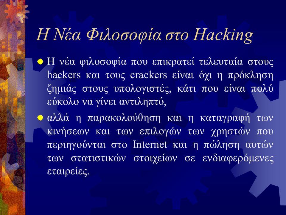 Η Νέα Φιλοσοφία στο Hacking  Η νέα φιλοσοφία που επικρατεί τελευταία στους hackers και τους crackers είναι όχι η πρόκληση ζημιάς στους υπολογιστές, κάτι που είναι πολύ εύκολο να γίνει αντιληπτό,  αλλά η παρακολούθηση και η καταγραφή των κινήσεων και των επιλογών των χρηστών που περιηγούνται στο Internet και η πώληση αυτών των στατιστικών στοιχείων σε ενδιαφερόμενες εταιρείες.