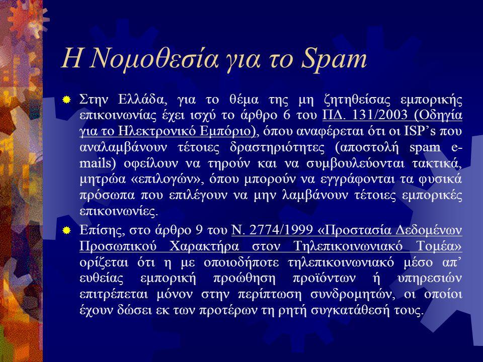 Η Νομοθεσία για το Spam  Στην Ελλάδα, για το θέμα της μη ζητηθείσας εμπορικής επικοινωνίας έχει ισχύ το άρθρο 6 του ΠΔ.