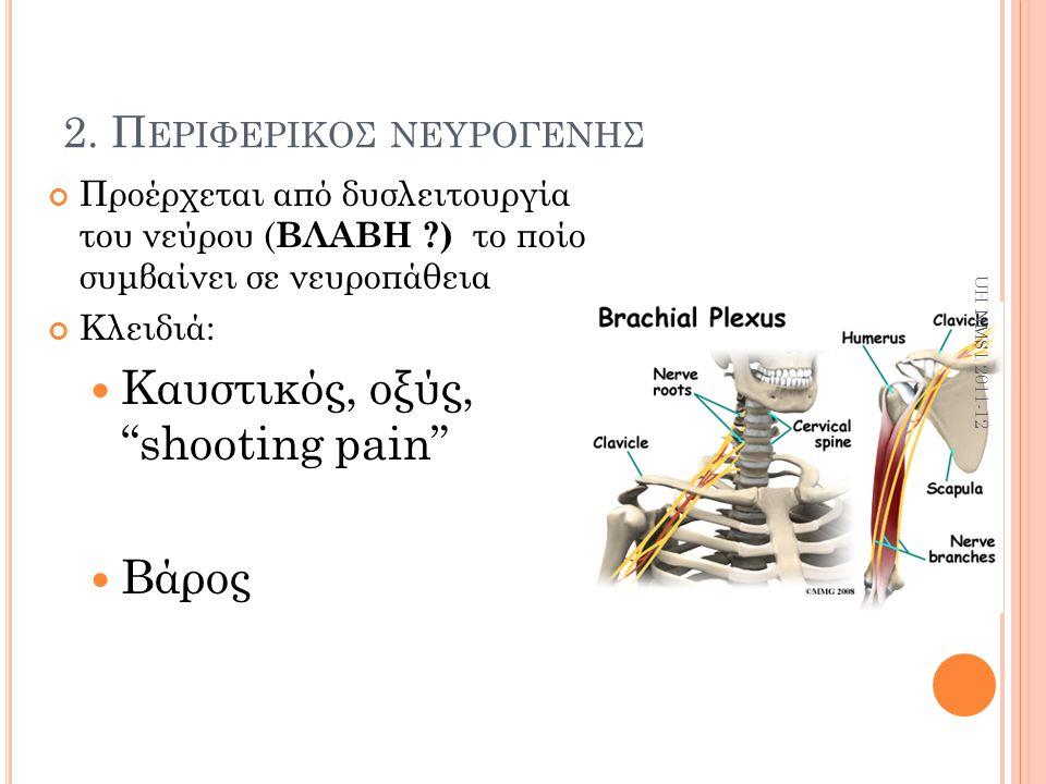 """2. Π ΕΡΙΦΕΡΙΚΟΣ ΝΕΥΡΟΓΕΝΗΣ Προέρχεται από δυσλειτουργία του νεύρου ( ΒΛΑΒΗ ?) το ποίο συμβαίνει σε νευροπάθεια Κλειδιά: Καυστικός, οξύς, """"shooting pai"""