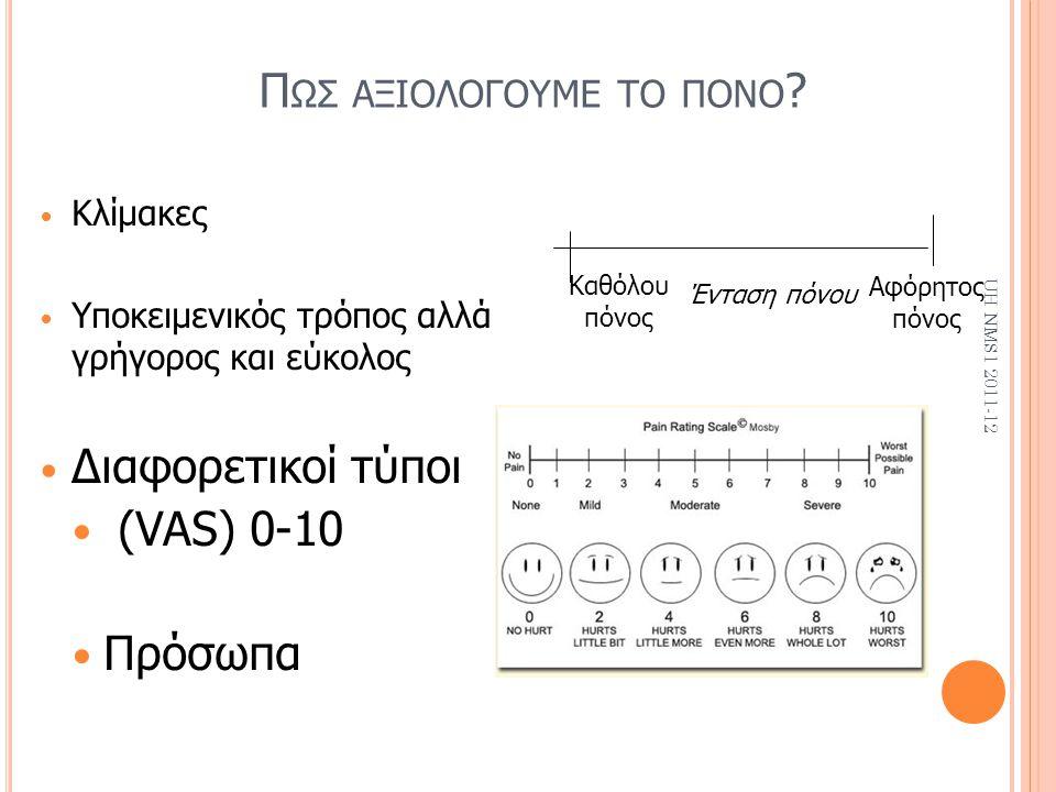 Π ΩΣ ΑΞΙΟΛΟΓΟΥΜΕ ΤΟ ΠΟΝΟ ? Κλίμακες Υποκειμενικός τρόπος αλλά γρήγορος και εύκολος Διαφορετικοί τύποι (VAS) 0-10 Πρόσωπα UH NMS1 2011-12 Καθόλου πόνος