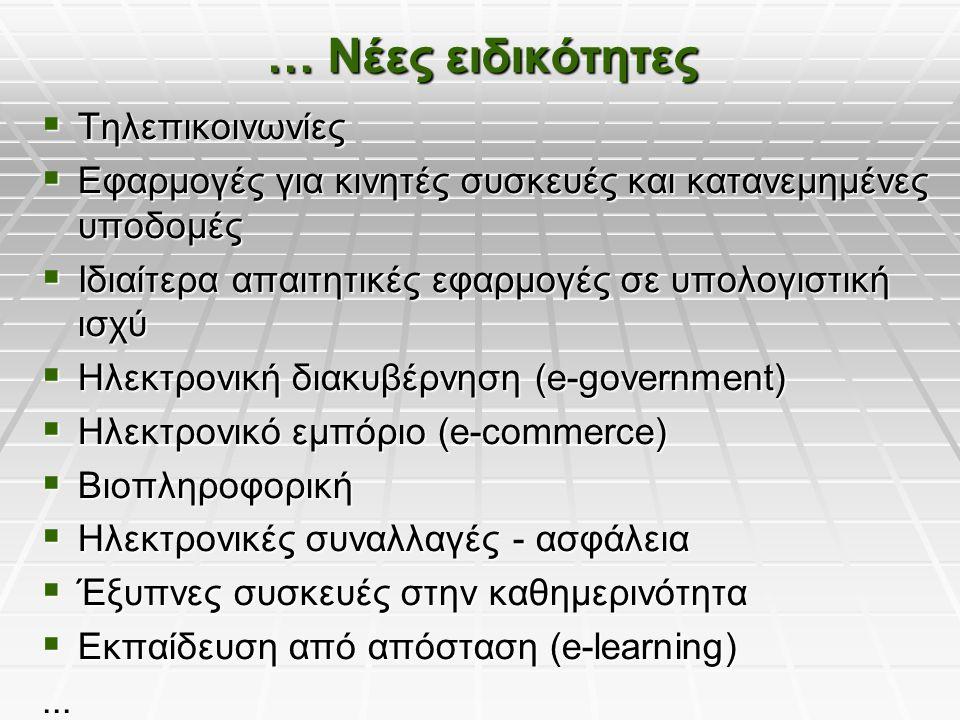 … Νέες ειδικότητες  Τηλεπικοινωνίες  Εφαρμογές για κινητές συσκευές και κατανεμημένες υποδομές  Ιδιαίτερα απαιτητικές εφαρμογές σε υπολογιστική ισχύ  Ηλεκτρονική διακυβέρνηση (e-government)  Ηλεκτρονικό εμπόριο (e-commerce)  Βιοπληροφορική  Ηλεκτρονικές συναλλαγές - ασφάλεια  Έξυπνες συσκευές στην καθημερινότητα  Εκπαίδευση από απόσταση (e-learning)...