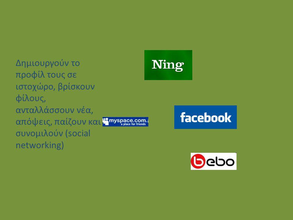 Δημιουργούν το προφίλ τους σε ιστοχώρο, βρίσκουν φίλους, ανταλλάσσουν νέα, απόψεις, παίζουν και συνομιλούν (social networking)