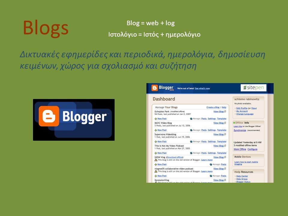 Blogs Blog = web + log Ιστολόγιο = Ιστός + ημερολόγιο Δικτυακές εφημερίδες και περιοδικά, ημερολόγια, δημοσίευση κειμένων, χώρος για σχολιασμό και συζήτηση