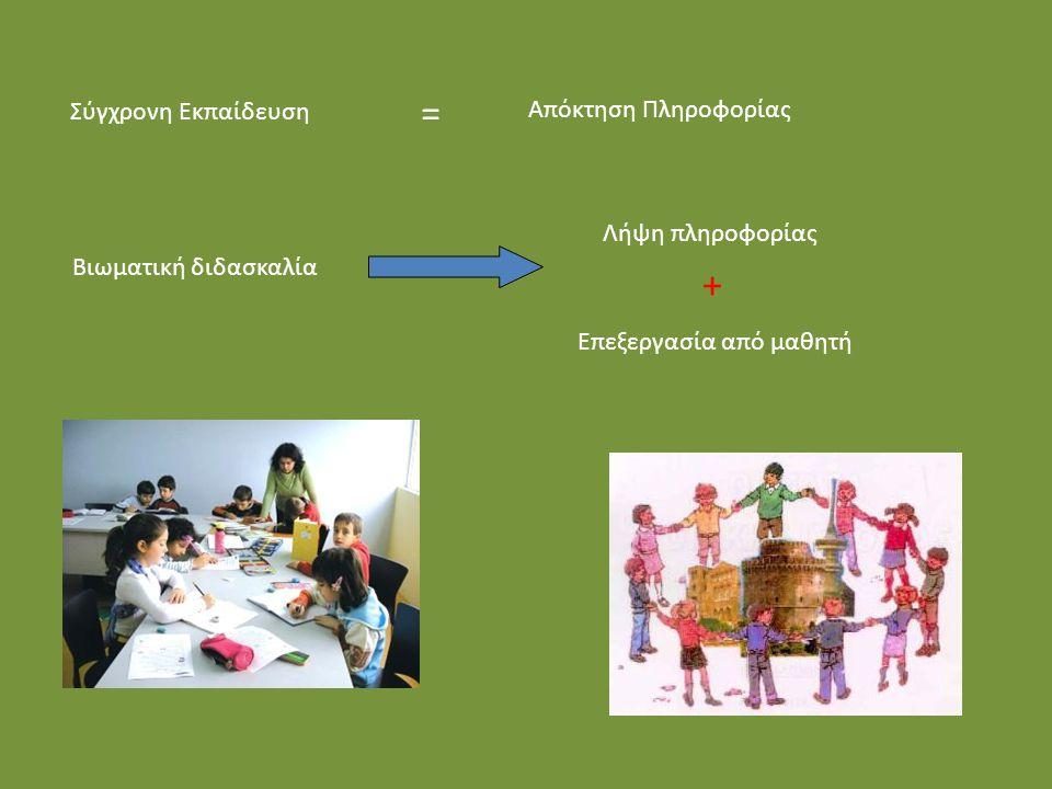 Σύγχρονη Εκπαίδευση = Απόκτηση Πληροφορίας Λήψη πληροφορίας + Επεξεργασία από μαθητή Βιωματική διδασκαλία