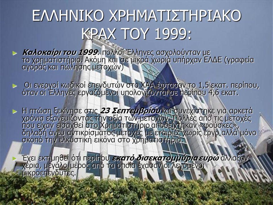 ΕΛΛΗΝΙΚΟ ΧΡΗΜΑΤΙΣΤΗΡΙΑΚΟ ΚΡΑΧ ΤΟΥ 1999: ► Καλοκαίρι του 1999: πολλοί Έλληνες ασχολούνταν με το χρηματιστήριο. Ακόμη και σε μικρά χωριά υπήρχαν ΕΛΔΕ (γ