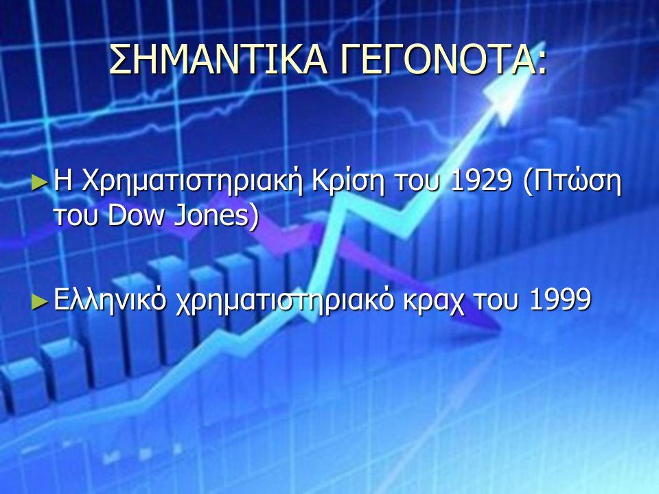 ΣΗΜΑΝΤΙΚΑ ΓΕΓΟΝΟΤΑ: ► Η Χρηματιστηριακή Κρίση του 1929 (Πτώση του Dow Jones) ► Ελληνικό χρηματιστηριακό κραχ του 1999