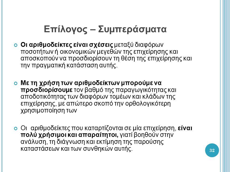 33 Επίλογος – Συμπεράσματα (συνέχεια) Αξιολογώντας την επιχείρηση Arvanco Α.ΒΕ.Ε., μία μικρομεσαία ελληνική επιχείρηση στον τομέα παραγωγής και εμπορίας χρωμάτων και άλλων χημικών προϊόντων, μπορούμε να πούμε ότι: Η ομάδα αριθμοδεικτών ρευστότητας της επιχείρησης δεν παρουσιάζει καλές επιδόσεις, για κάποιους αριθμοδείκτες δε, παρουσιάζει αντίθετα κακές επιδόσεις.
