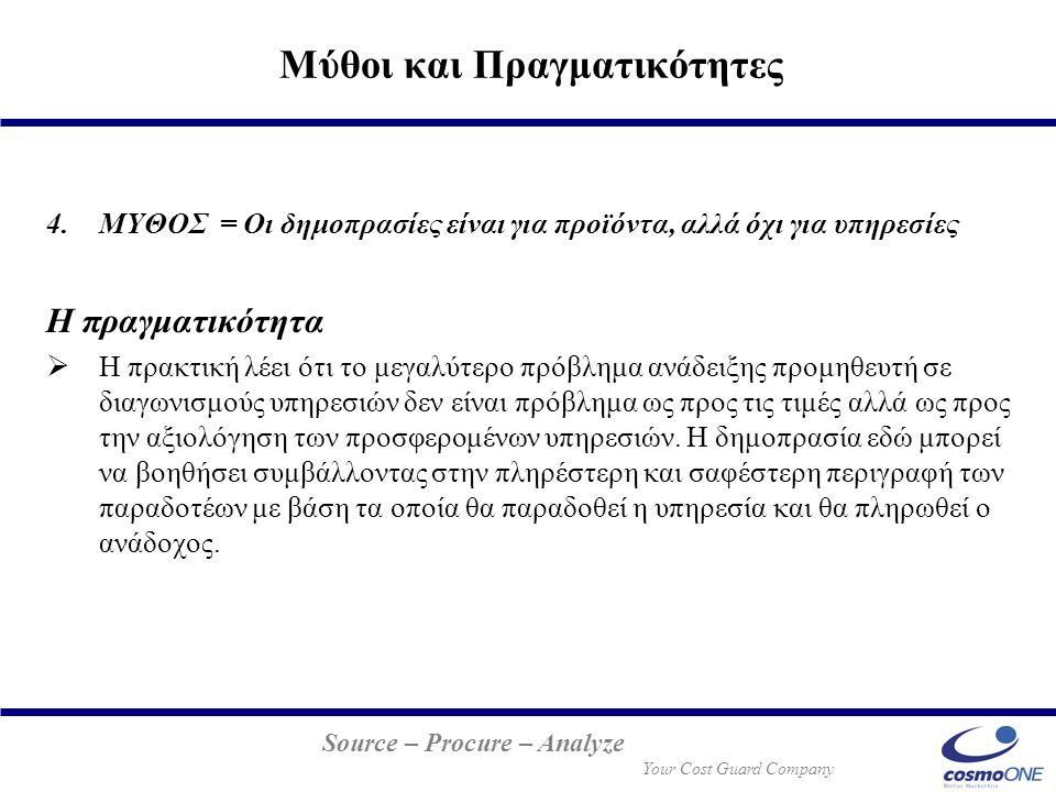Source – Procure – Analyze Your Cost Guard Company 4.ΜΥΘΟΣ = Οι δημοπρασίες είναι για προϊόντα, αλλά όχι για υπηρεσίες Η πραγματικότητα  Η πρακτική λ