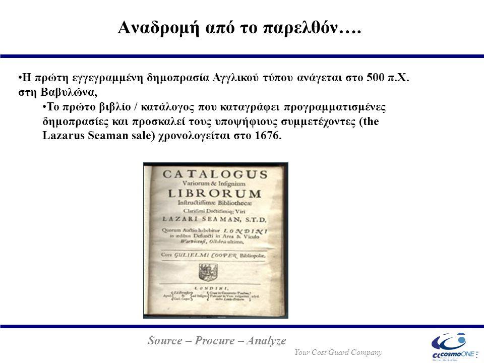 Source – Procure – Analyze Your Cost Guard Company Η πρώτη εγγεγραμμένη δημοπρασία Αγγλικού τύπου ανάγεται στο 500 π.Χ. στη Βαβυλώνα, Το πρώτο βιβλίο