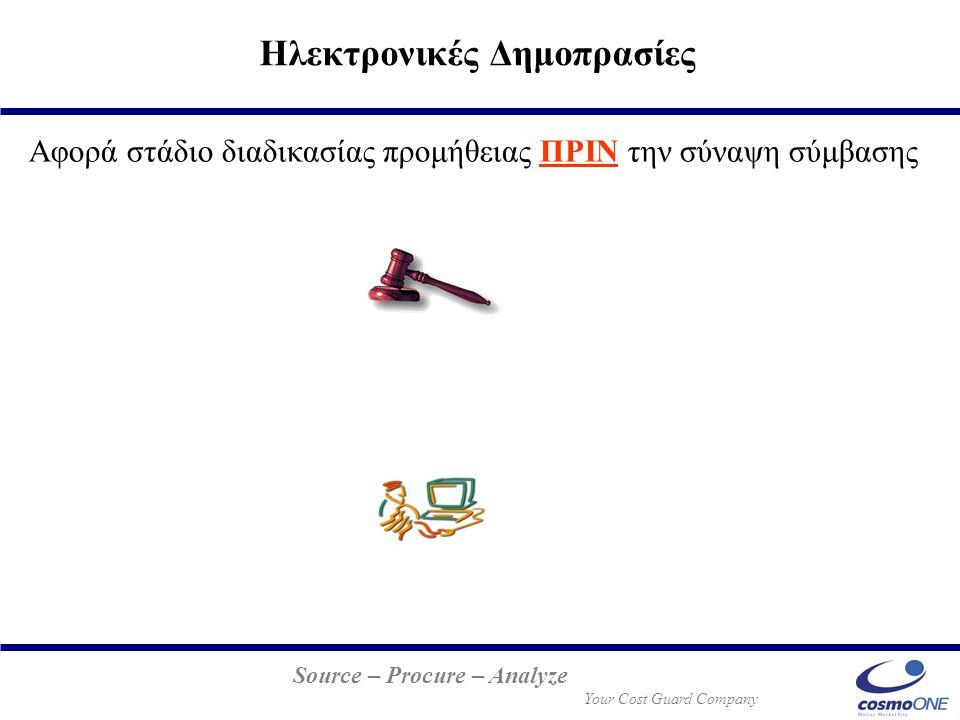 Source – Procure – Analyze Your Cost Guard Company Ηλεκτρονικές Δημοπρασίες Αφορά στάδιο διαδικασίας προμήθειας ΠΡΙΝ την σύναψη σύμβασης