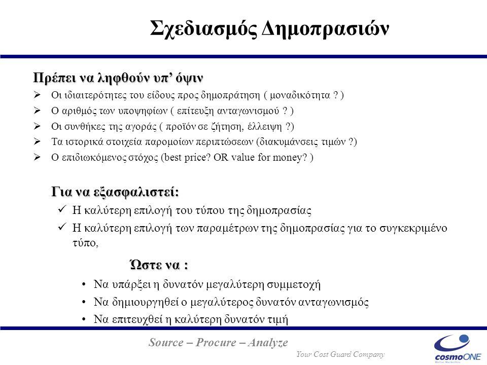 Source – Procure – Analyze Your Cost Guard Company Πρέπει να ληφθούν υπ' όψιν  Οι ιδιαιτερότητες του είδους προς δημοπράτηση ( μοναδικότητα ? )  Ο α