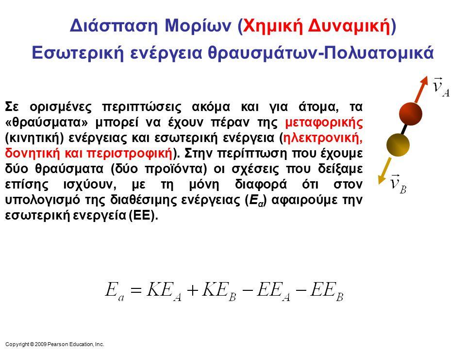 Διάσπαση Μορίων (Χημική Δυναμική) Εσωτερική ενέργεια θραυσμάτων-Πολυατομικά Σε ορισμένες περιπτώσεις ακόμα και για άτομα, τα «θραύσματα» μπορεί να έχουν πέραν της μεταφορικής (κινητική) ενέργειας και εσωτερική ενέργεια (ηλεκτρονική, δονητική και περιστροφική).