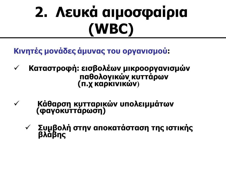 2. Λευκά αιμοσφαίρια (WBC) Kινητές μονάδες άμυνας του οργανισμού: Καταστροφή: εισβολέων μικροοργανισμών παθολογικών κυττάρων (π.χ καρκινικών ) Κάθαρση
