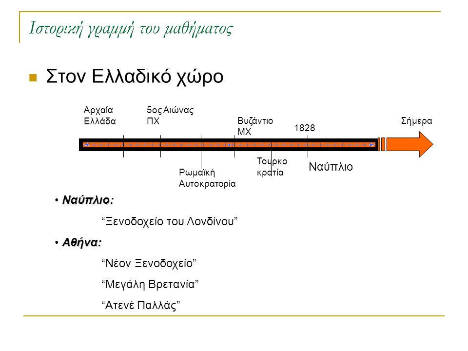 """Ιστορική γραμμή του μαθήματος Στον Ελλαδικό χώρο Αρχαία Ελλάδα 5ος Αιώνας ΠΧ 1828 Βυζάντιο ΜΧ Σήμερα Ναύπλιο Ρωμαϊκή Αυτοκρατορία Ναύπλιο: """"Ξενοδοχείο"""