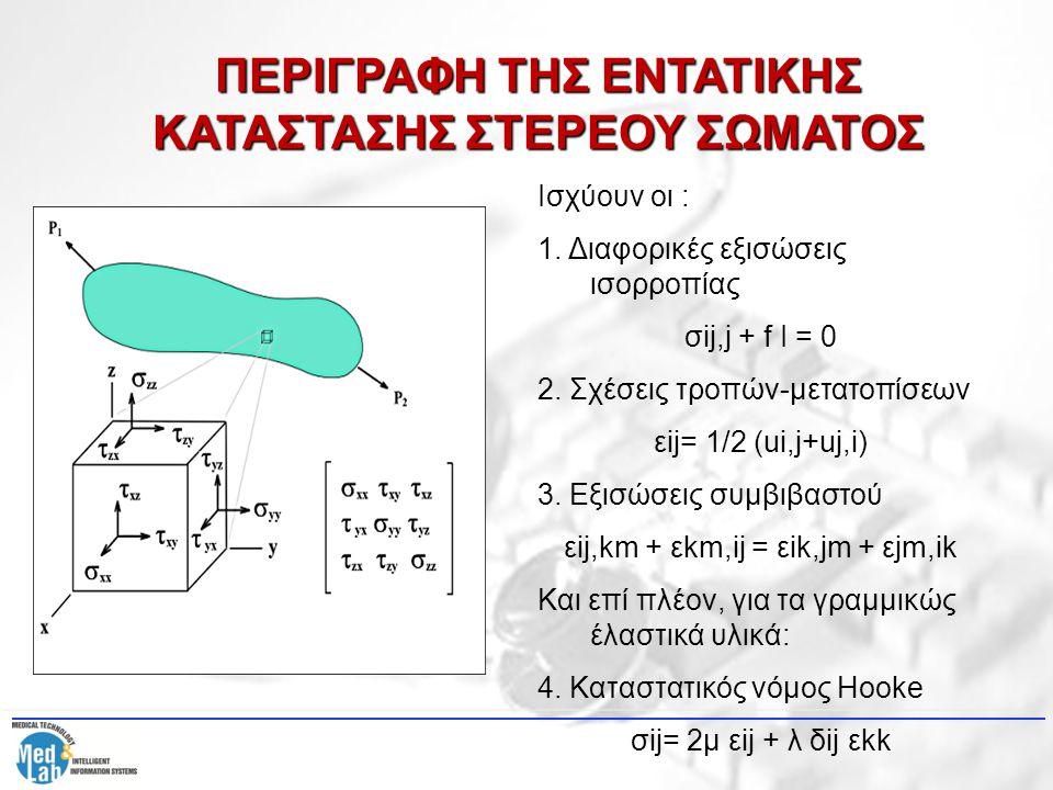 ΠΕΡΙΓΡΑΦΗ ΤΗΣ ΕΝΤΑΤΙΚΗΣ ΚΑΤΑΣΤΑΣΗΣ ΣΤΕΡΕΟΥ ΣΩΜΑΤΟΣ Ισχύουν οι : 1. Διαφορικές εξισώσεις ισορροπίας σij,j + f I = 0 2. Σχέσεις τροπών-μετατοπίσεων εij=
