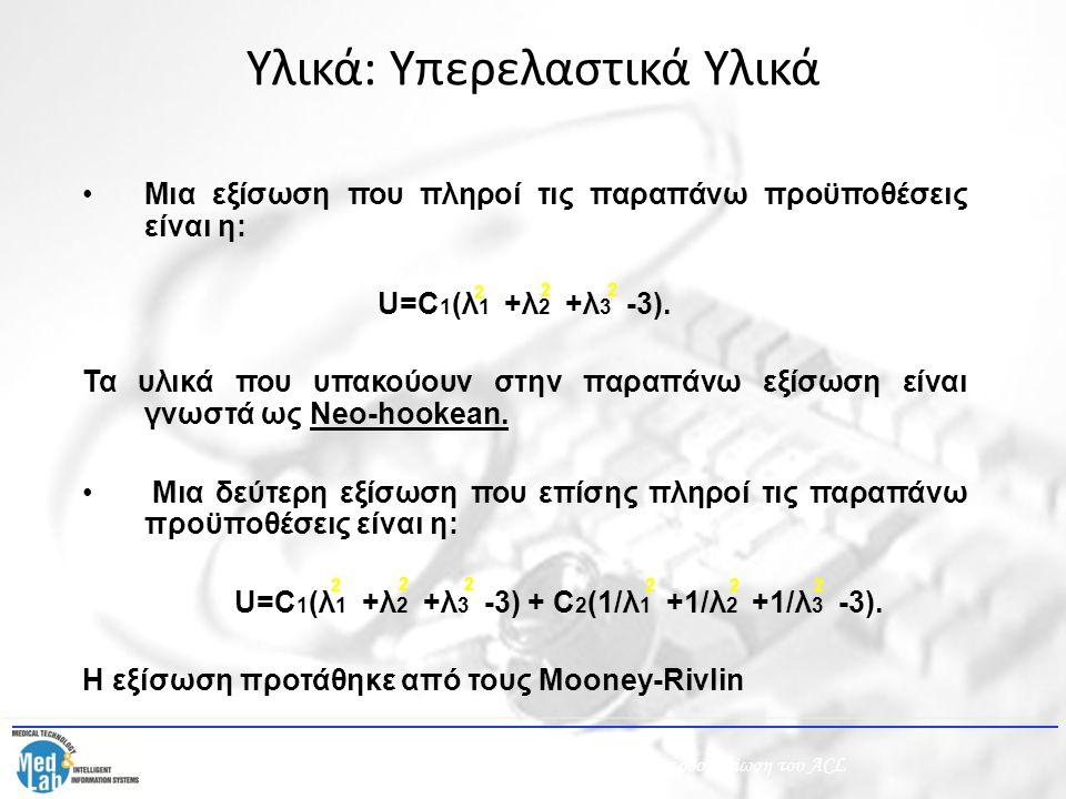Μια εξίσωση που πληροί τις παραπάνω προϋποθέσεις είναι η: U=C 1 (λ 1 +λ 2 +λ 3 -3). Τα υλικά που υπακούουν στην παραπάνω εξίσωση είναι γνωστά ως Νeo-h