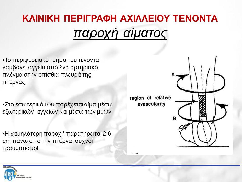 ΚΛΙΝΙΚΗ ΠΕΡΙΓΡΑΦΗ ΑΧΙΛΛΕΙΟΥ ΤΕΝΟΝΤΑ παροχή αίματος Τέσσερις ζώνες ιστού περιγράφουν την κατάφυση:  (α) πυκνά ινώδης συνδετικός ιστός  (τένοντας)  (β) χόνδρινο υλικό  (γ) ενασβεστιομένο χόνδρινο υλικό  (δ) οστό (πτέρνα) ισορροπεί τα διαφορετικά μέτρα ελαστικότητας τένοντα και οστού μειώνει τη συγκέντρωση τάσεων στο χώρο εισαγωγής