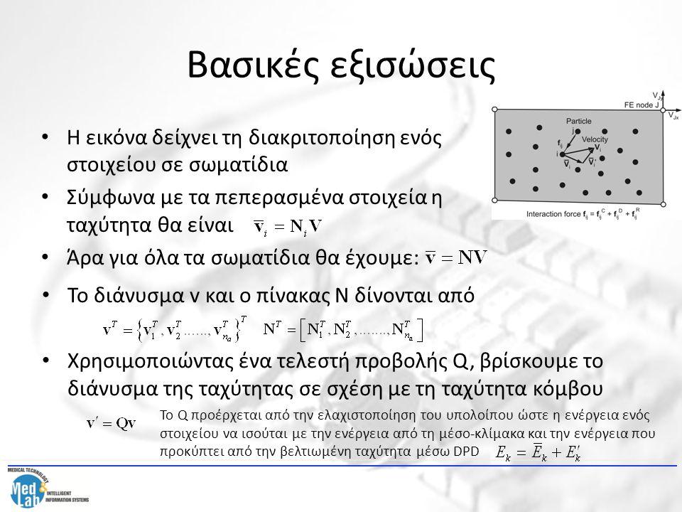 Βασικές εξισώσεις Η εικόνα δείχνει τη διακριτοποίηση ενός στοιχείου σε σωματίδια Σύμφωνα με τα πεπερασμένα στοιχεία η ταχύτητα θα είναι Άρα για όλα τα