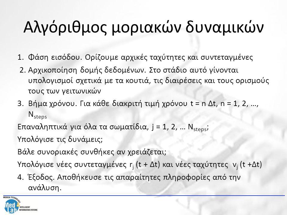 Αλγόριθμος μοριακών δυναμικών Οι εξισώσεις κίνησης συνήθως ολοκληρώνονται με τη μέθοδο leapfrog.