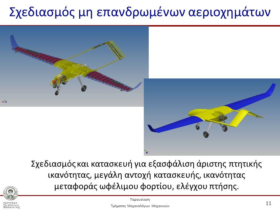 Αριστοτέλειο Πανεπιστήμιο Θεσσαλονίκης Παρουσίαση Τμήματος Μηχανολόγων Μηχανικών Σχεδιασμός μη επανδρωμένων αεριοχημάτων 11 Σχεδιασμός και κατασκευή για εξασφάλιση άριστης πτητικής ικανότητας, μεγάλη αντοχή κατασκευής, ικανότητας μεταφοράς ωφέλιμου φορτίου, ελέγχου πτήσης.