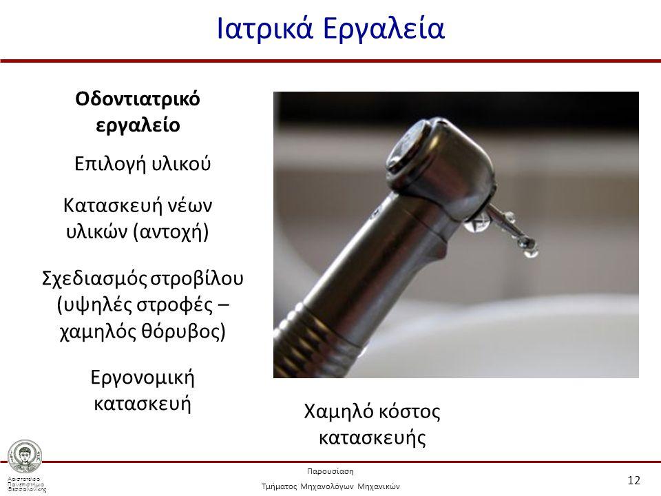 Αριστοτέλειο Πανεπιστήμιο Θεσσαλονίκης Παρουσίαση Τμήματος Μηχανολόγων Μηχανικών Ιατρικά Εργαλεία 12 Επιλογή υλικού Κατασκευή νέων υλικών (αντοχή) Σχε