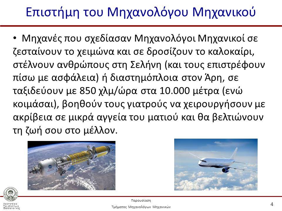 Αριστοτέλειο Πανεπιστήμιο Θεσσαλονίκης Παρουσίαση Τμήματος Μηχανολόγων Μηχανικών Επιστήμη του Μηχανολόγου Μηχανικού 4 Μηχανές που σχεδίασαν Μηχανολόγοι Μηχανικοί σε ζεσταίνουν το χειμώνα και σε δροσίζουν το καλοκαίρι, στέλνουν ανθρώπους στη Σελήνη (και τους επιστρέφουν πίσω με ασφάλεια) ή διαστημόπλοια στον Άρη, σε ταξιδεύουν με 850 χλμ/ώρα στα 10.000 μέτρα (ενώ κοιμάσαι), βοηθούν τους γιατρούς να χειρουργήσουν με ακρίβεια σε μικρά αγγεία του ματιού και θα βελτιώνουν τη ζωή σου στο μέλλον.