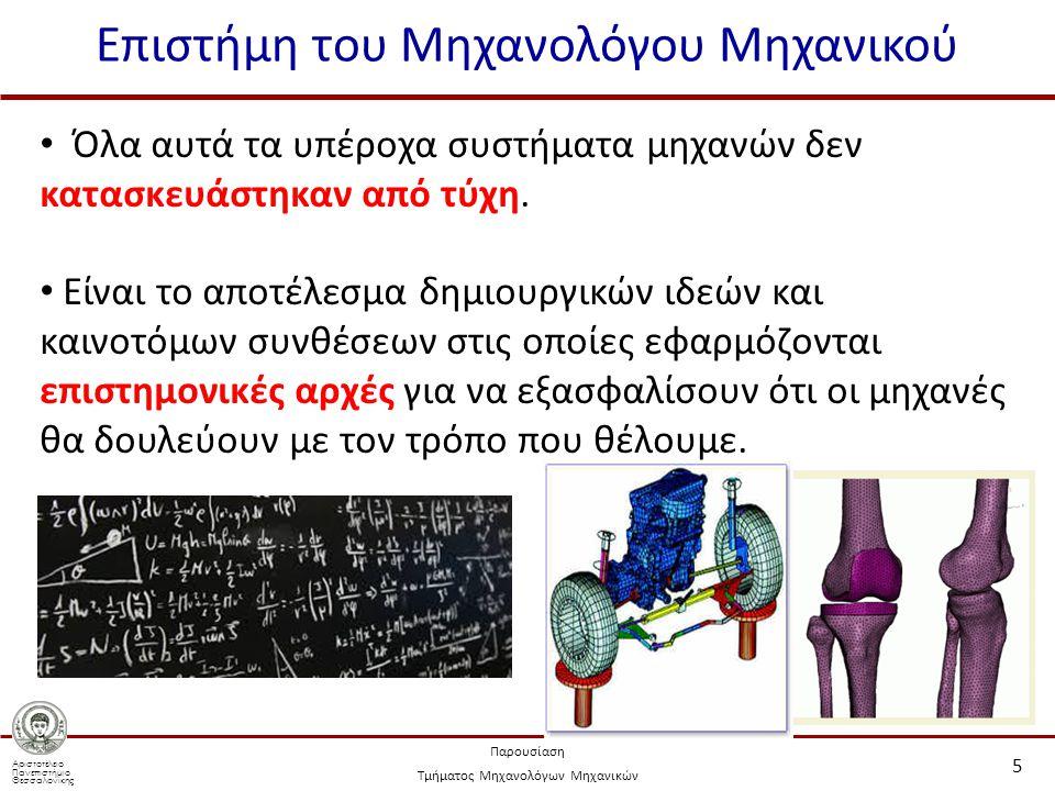 Αριστοτέλειο Πανεπιστήμιο Θεσσαλονίκης Παρουσίαση Τμήματος Μηχανολόγων Μηχανικών Επιστήμη του Μηχανολόγου Μηχανικού 5 Όλα αυτά τα υπέροχα συστήματα μηχανών δεν κατασκευάστηκαν από τύχη.