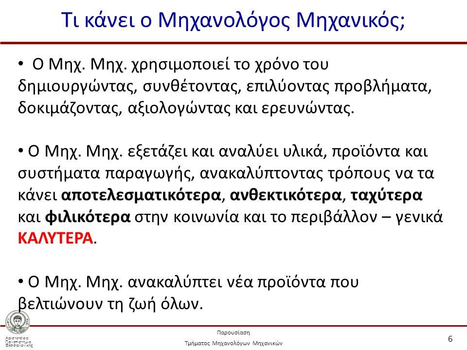 Αριστοτέλειο Πανεπιστήμιο Θεσσαλονίκης Παρουσίαση Τμήματος Μηχανολόγων Μηχανικών Τι κάνει ο Μηχανολόγος Μηχανικός; 6 Ο Μηχ. Μηχ. χρησιμοποιεί το χρόνο