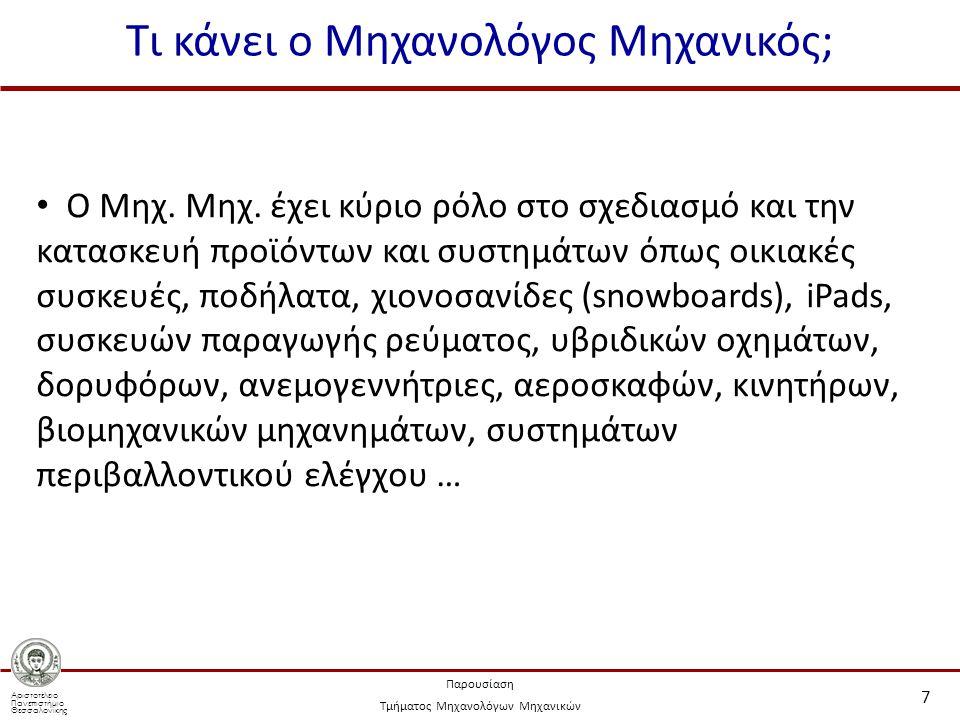 Αριστοτέλειο Πανεπιστήμιο Θεσσαλονίκης Παρουσίαση Τμήματος Μηχανολόγων Μηχανικών Τι κάνει ο Μηχανολόγος Μηχανικός; 7 Ο Μηχ.