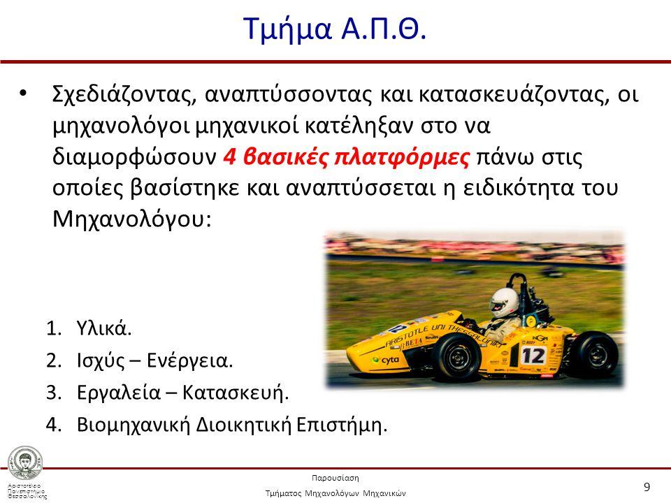 Αριστοτέλειο Πανεπιστήμιο Θεσσαλονίκης Παρουσίαση Τμήματος Μηχανολόγων Μηχανικών Τμήμα Α.Π.Θ.