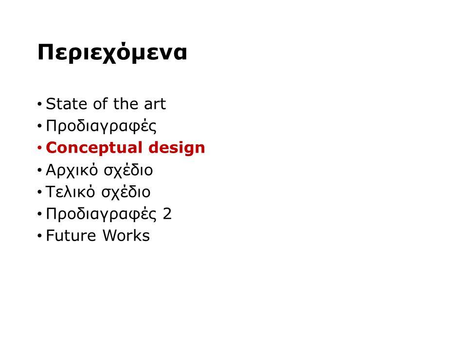 Περιεχόμενα State of the art Προδιαγραφές Conceptual design Αρχικό σχέδιο Τελικό σχέδιο Προδιαγραφές 2 Future Works