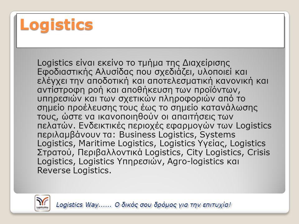Logistics Logistics είναι εκείνο το τμήμα της Διαχείρισης Εφοδιαστικής Αλυσίδας που σχεδιάζει, υλοποιεί και ελέγχει την αποδοτική και αποτελεσματική κ