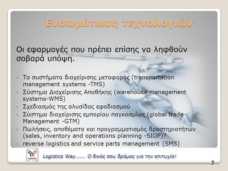 Προγραμματισμός Εργασιών Λογισμικό Εποπτείας Διανομών Σύστημα αυτόματης-βέλτιστης Δρομολόγησης 18 Logistics Way......
