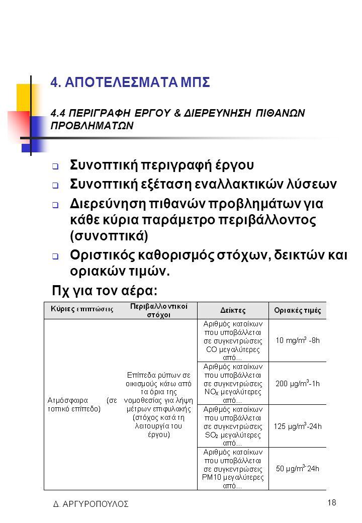 Δ. ΑΡΓΥΡΟΠΟΥΛΟΣ 18 4. ΑΠΟΤΕΛΕΣΜΑΤΑ ΜΠΣ 4.4 ΠΕΡΙΓΡΑΦΗ ΕΡΓΟΥ & ΔΙΕΡΕΥΝΗΣΗ ΠΙΘΑΝΩΝ ΠΡΟΒΛΗΜΑΤΩΝ  Συνοπτική περιγραφή έργου  Συνοπτική εξέταση εναλλακτικ