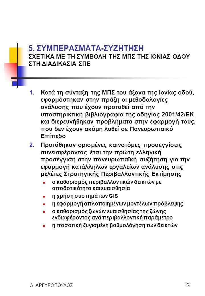 Δ. ΑΡΓΥΡΟΠΟΥΛΟΣ 25 5. ΣΥΜΠΕΡΑΣΜΑΤΑ-ΣΥΖΗΤΗΣΗ ΣΧΕΤΙΚΑ ΜΕ ΤΗ ΣΥΜΒΟΛΗ ΤΗΣ ΜΠΣ ΤΗΣ ΙΟΝΙΑΣ ΟΔΟΥ ΣΤΗ ΔΙΑΔΙΚΑΣΙΑ ΣΠΕ 1.Κατά τη σύνταξη της ΜΠΣ του άξονα της Ι