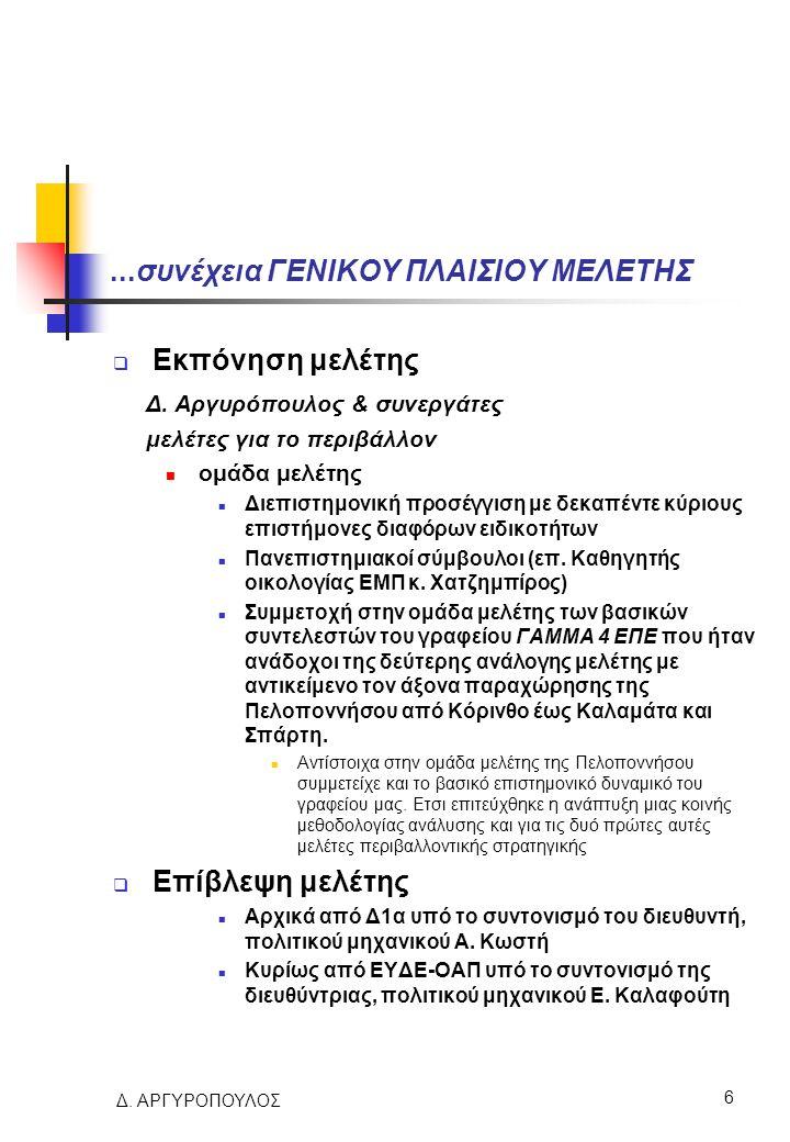 Δ. ΑΡΓΥΡΟΠΟΥΛΟΣ 6...συνέχεια ΓΕΝΙΚΟΥ ΠΛΑΙΣΙΟΥ ΜΕΛΕΤΗΣ  Εκπόνηση μελέτης Δ. Αργυρόπουλος & συνεργάτες μελέτες για το περιβάλλον ομάδα μελέτης Διεπιστη