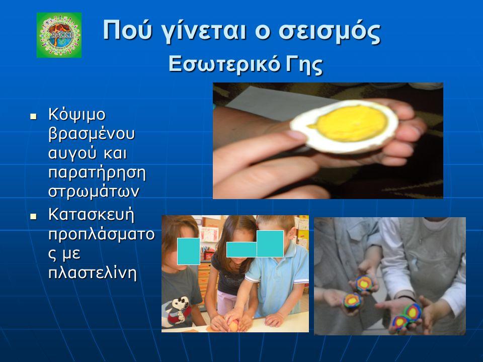 Πού γίνεται ο σεισμός Εσωτερικό Γης Κόψιμο βρασμένου αυγού και παρατήρηση στρωμάτων Κόψιμο βρασμένου αυγού και παρατήρηση στρωμάτων Κατασκευή προπλάσμ